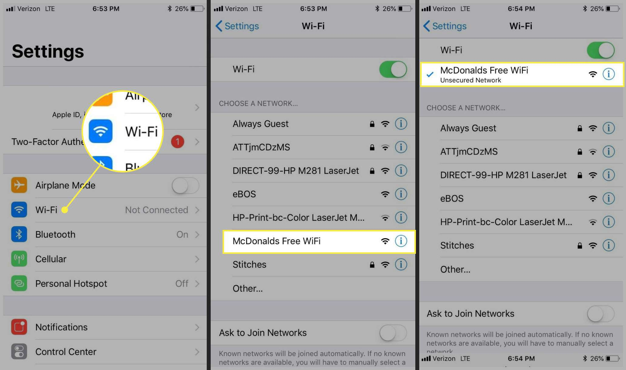 Connecting to McDonald's Free Wi-Fi in iOS