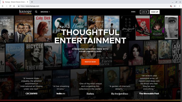"""Screenshot of browser open to Kanopy.com homepage, shows """"Thoughtful Entertainment"""" in big letters with a """"Watch Now"""" button"""