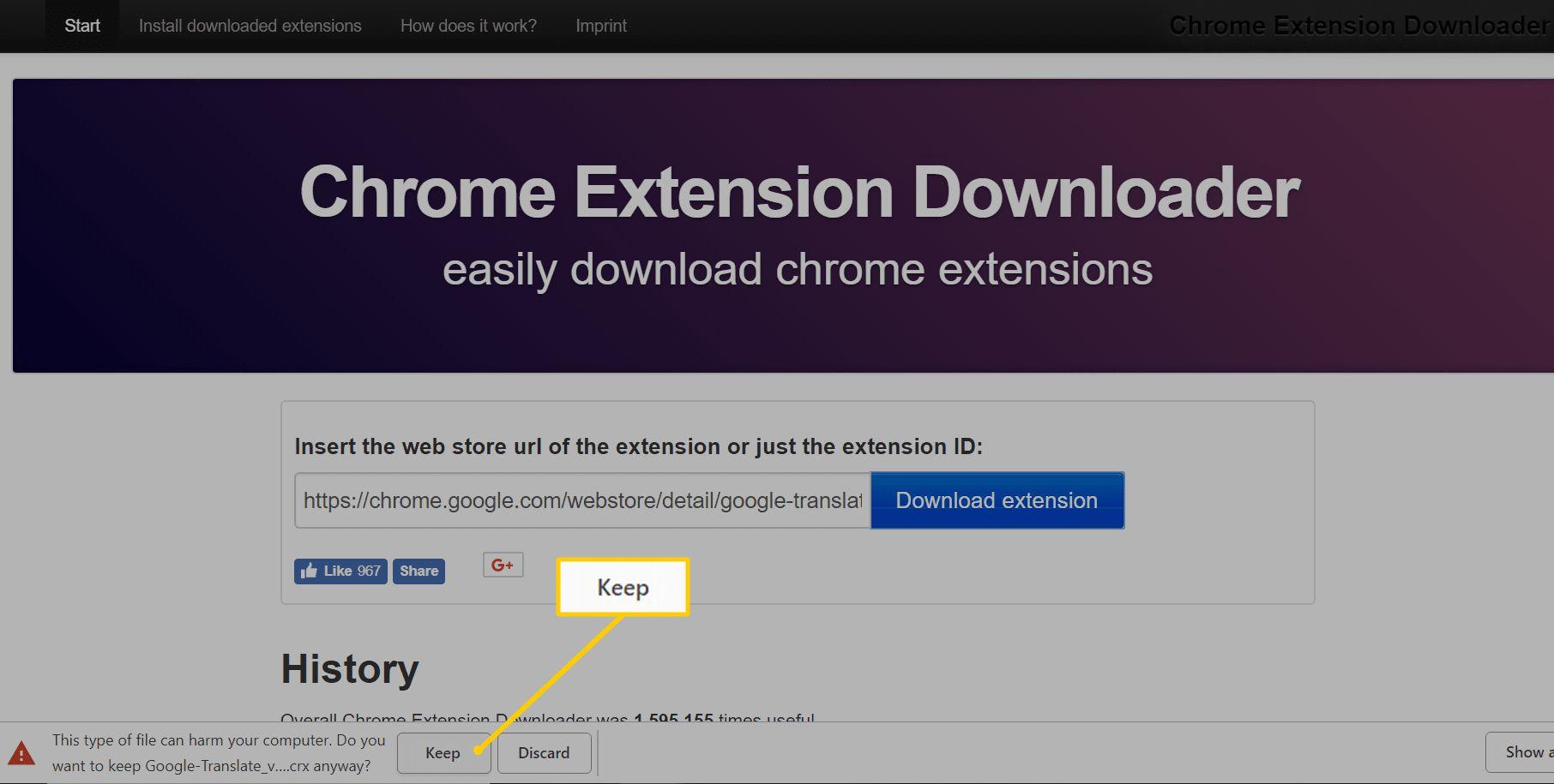 Keep button in Chrome