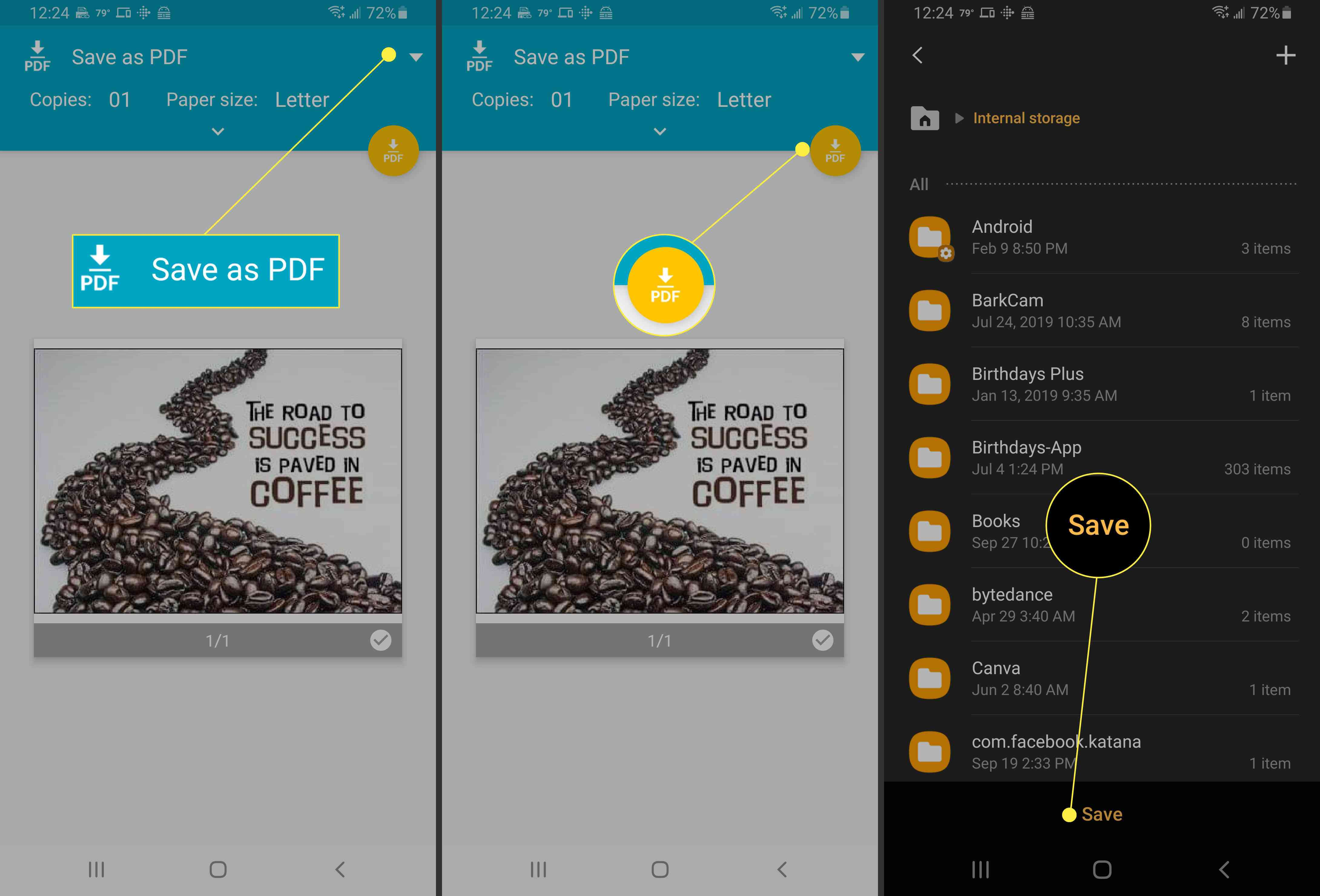 Saving the PDF in Android.