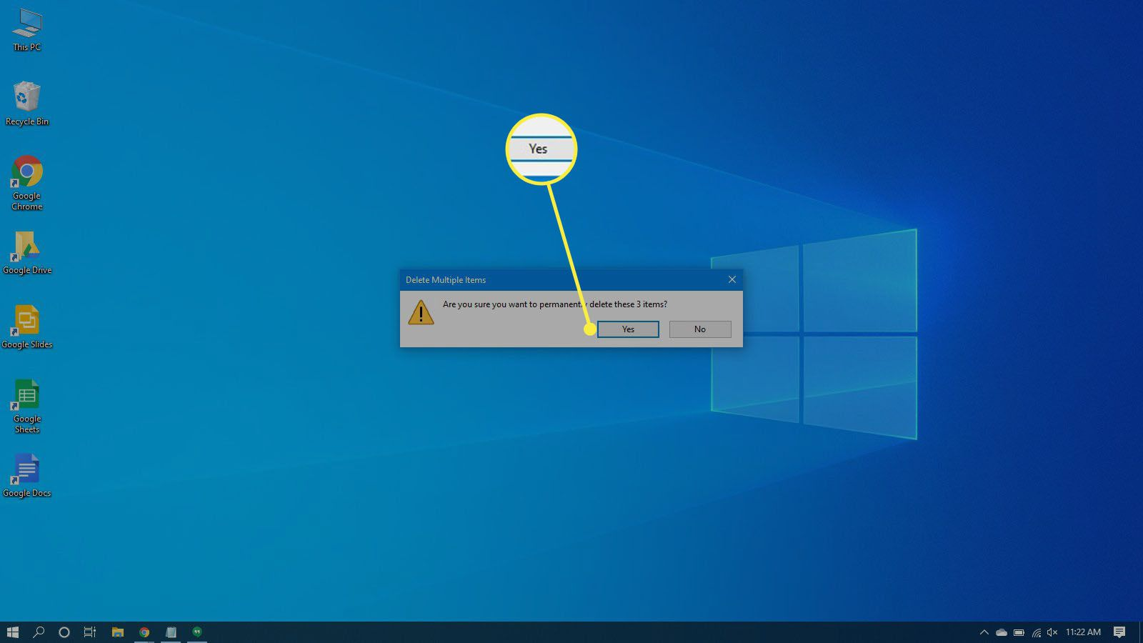 Confirming the deletion of files in the recycle bin in Windows 10.