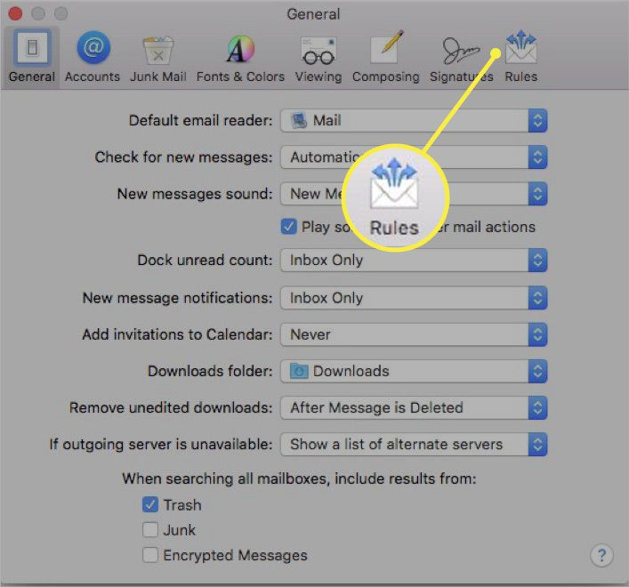 Selecting the Rules tab in Apple Mail.