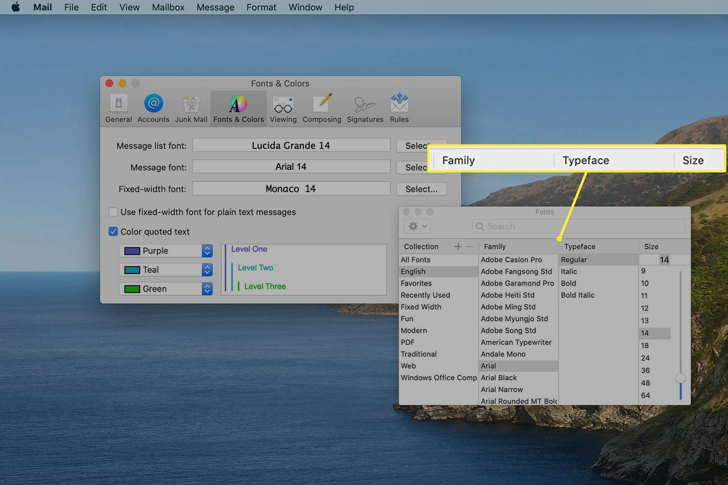 Fonts screen in Mac Mail preferences showing font options