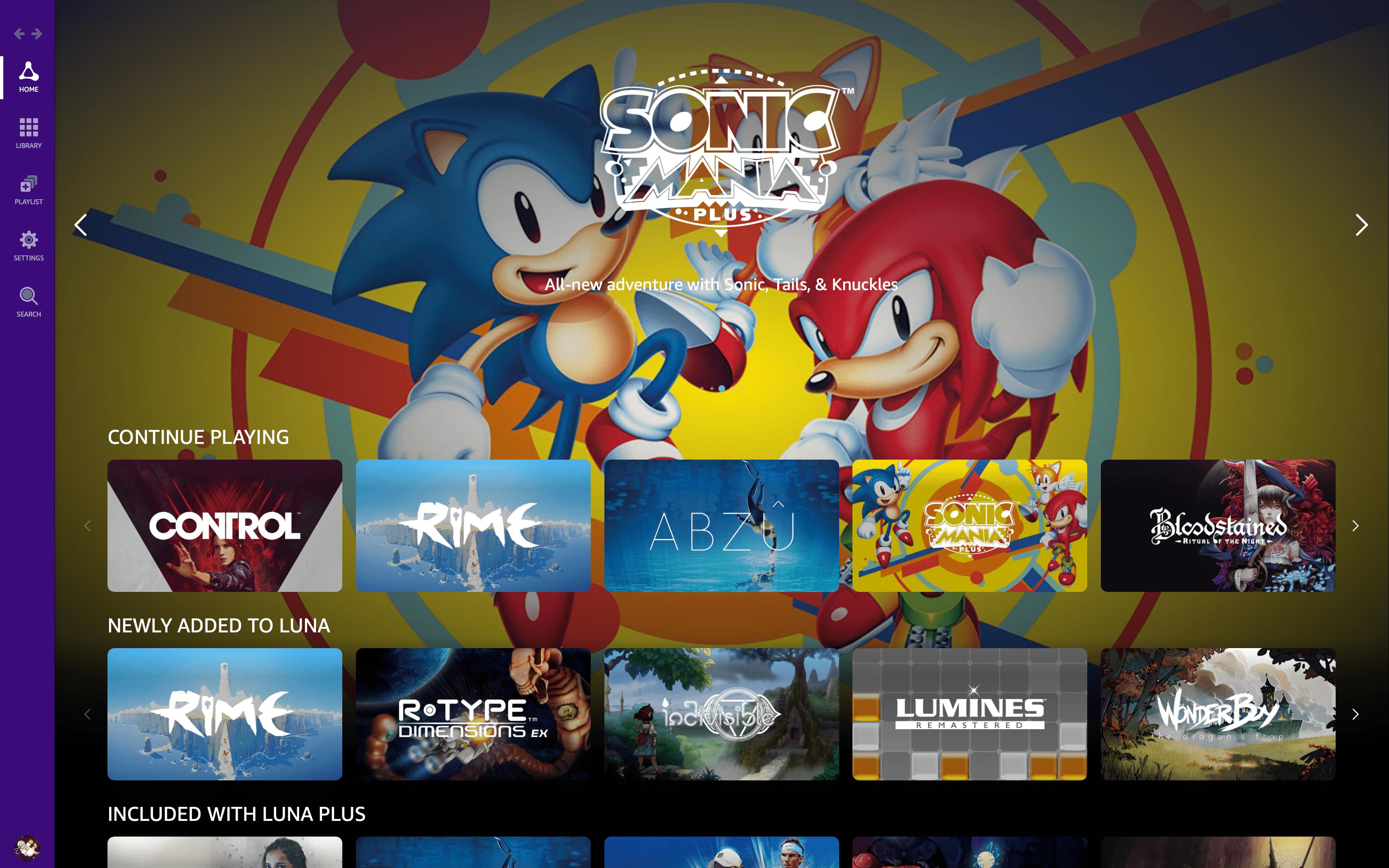 A screenshot of Luna games.