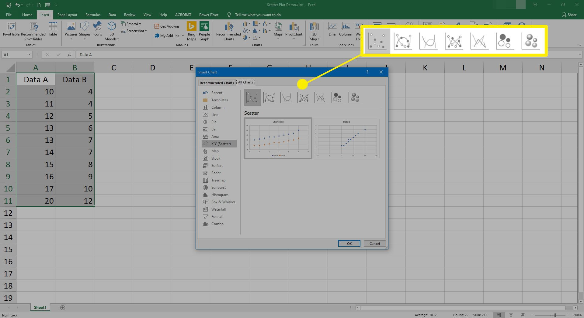 Screenshot of selecting what type of scatter plot to use in Excel.