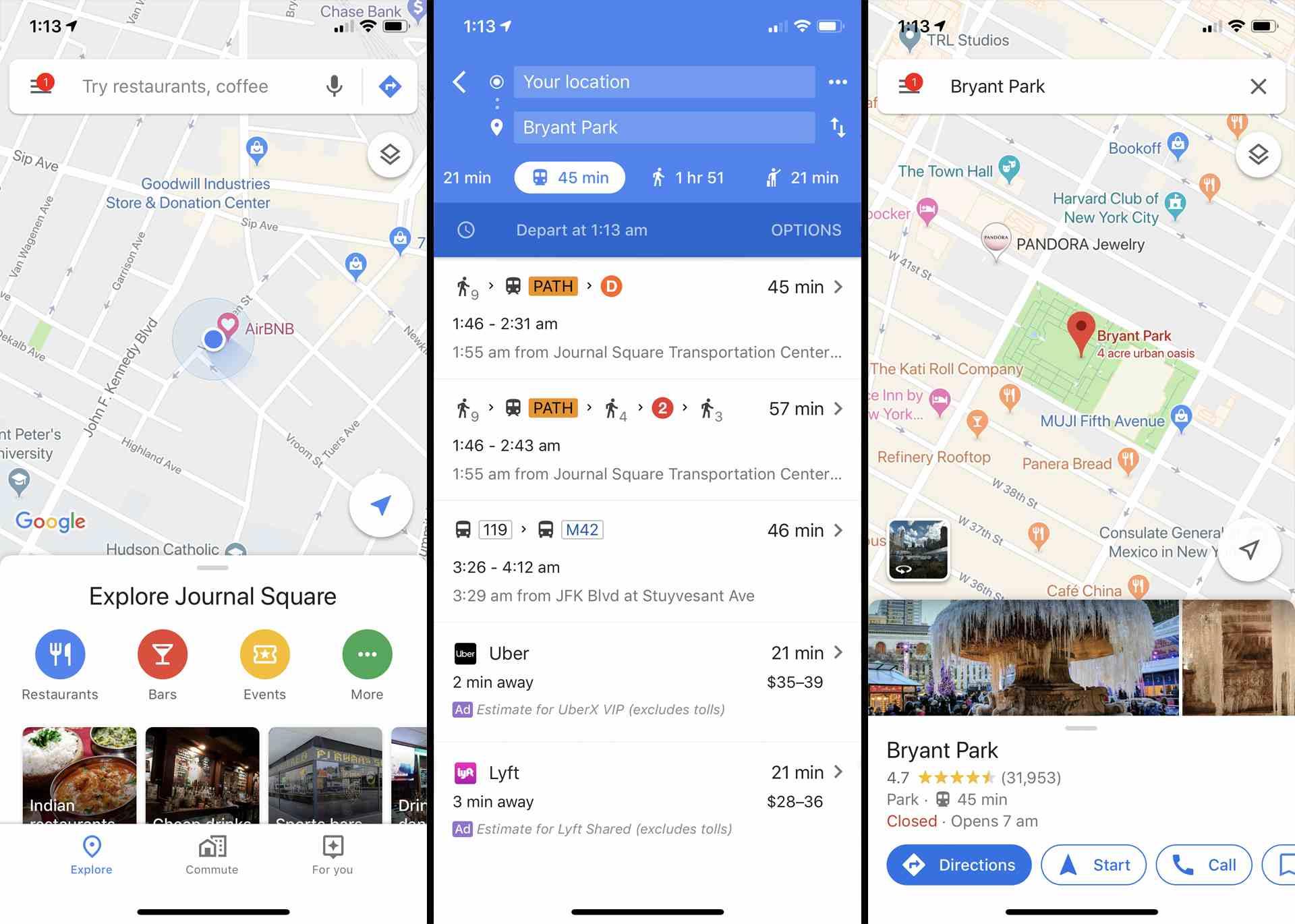Google Maps iOS app on iPhone.