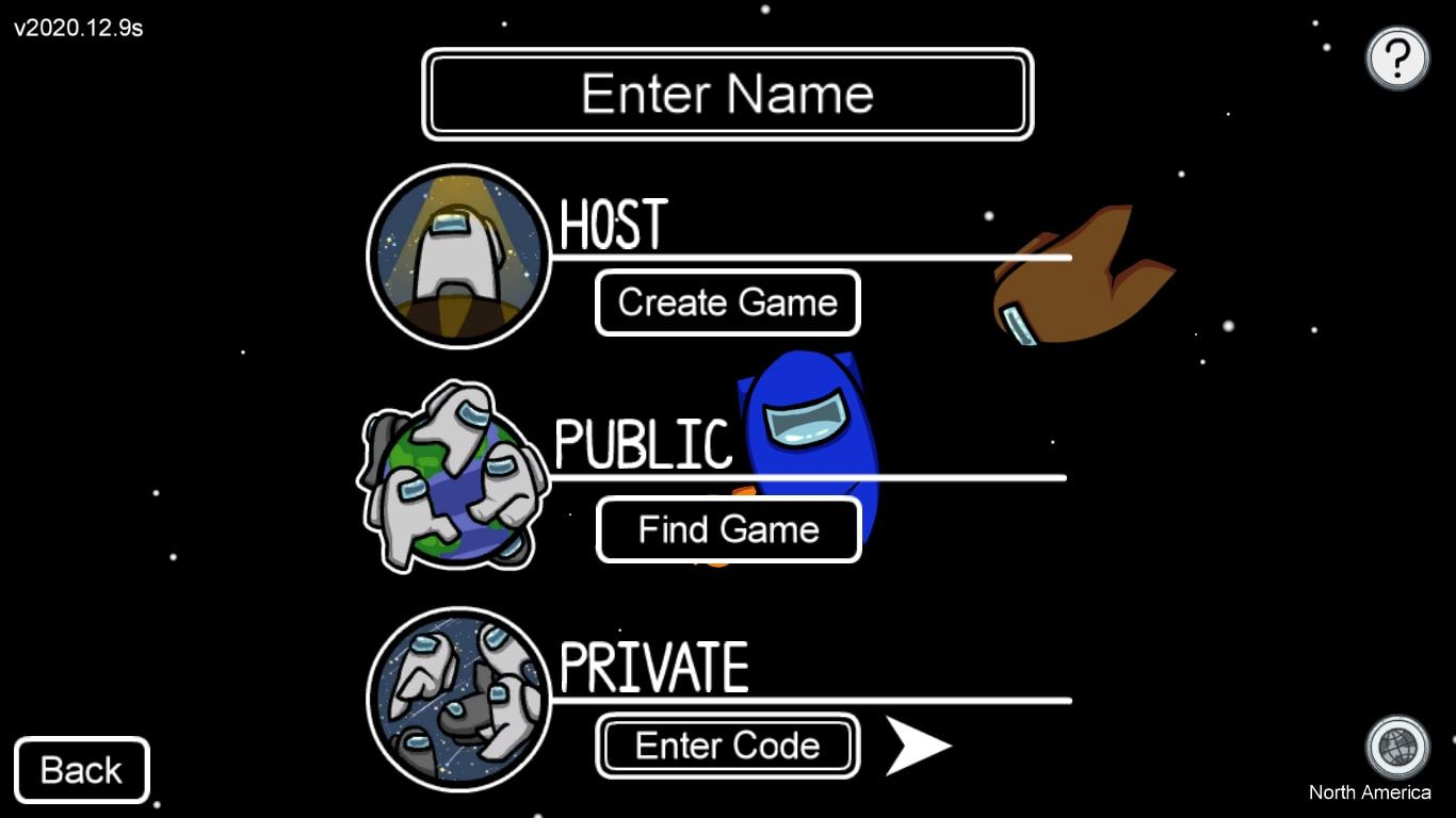 Create Game and Enter Code in the Among Us game menu