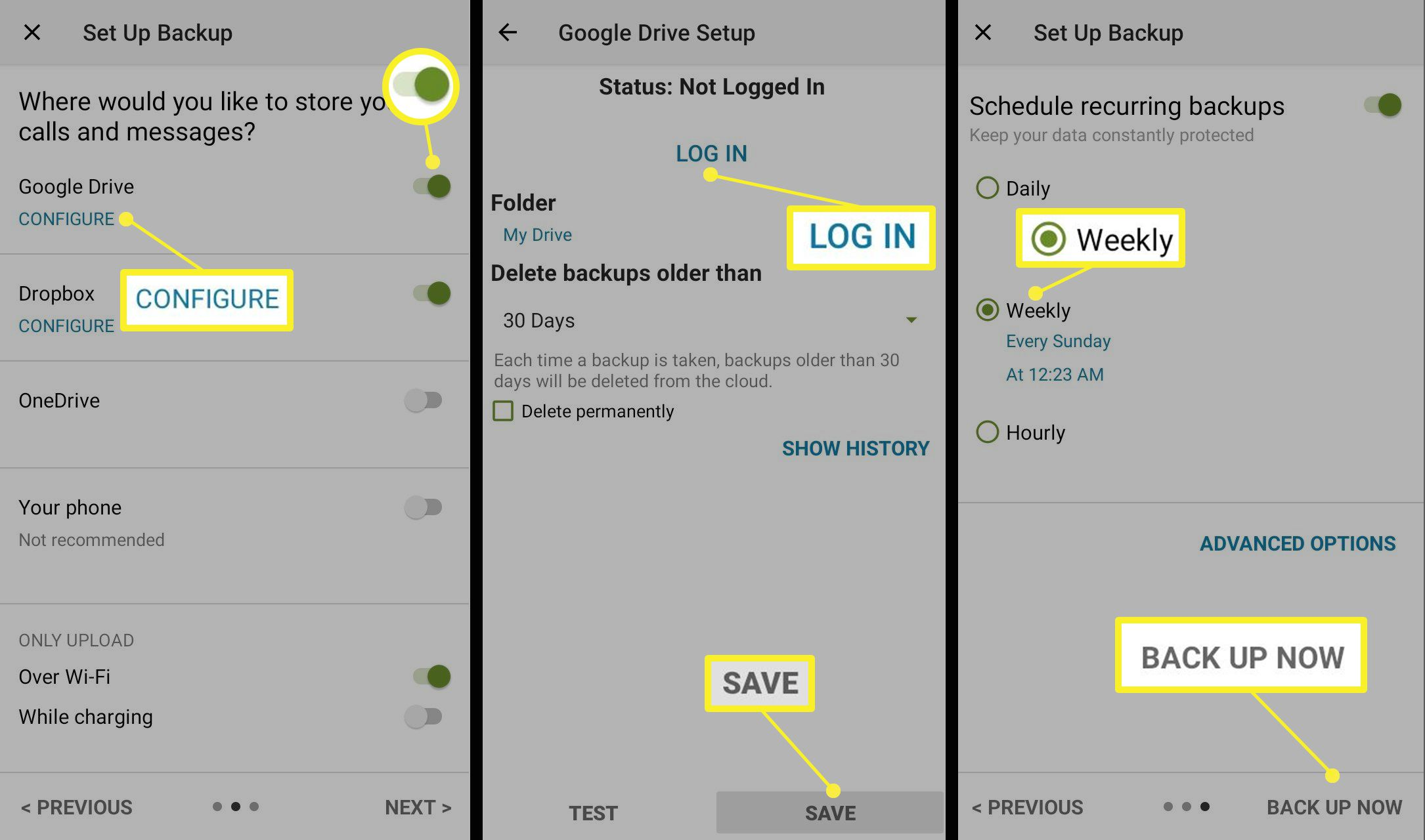 SMS Backup & Restore app configuration