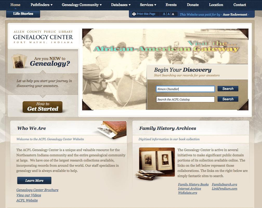Allen County Public Library Genealogy Center homepage screenshot