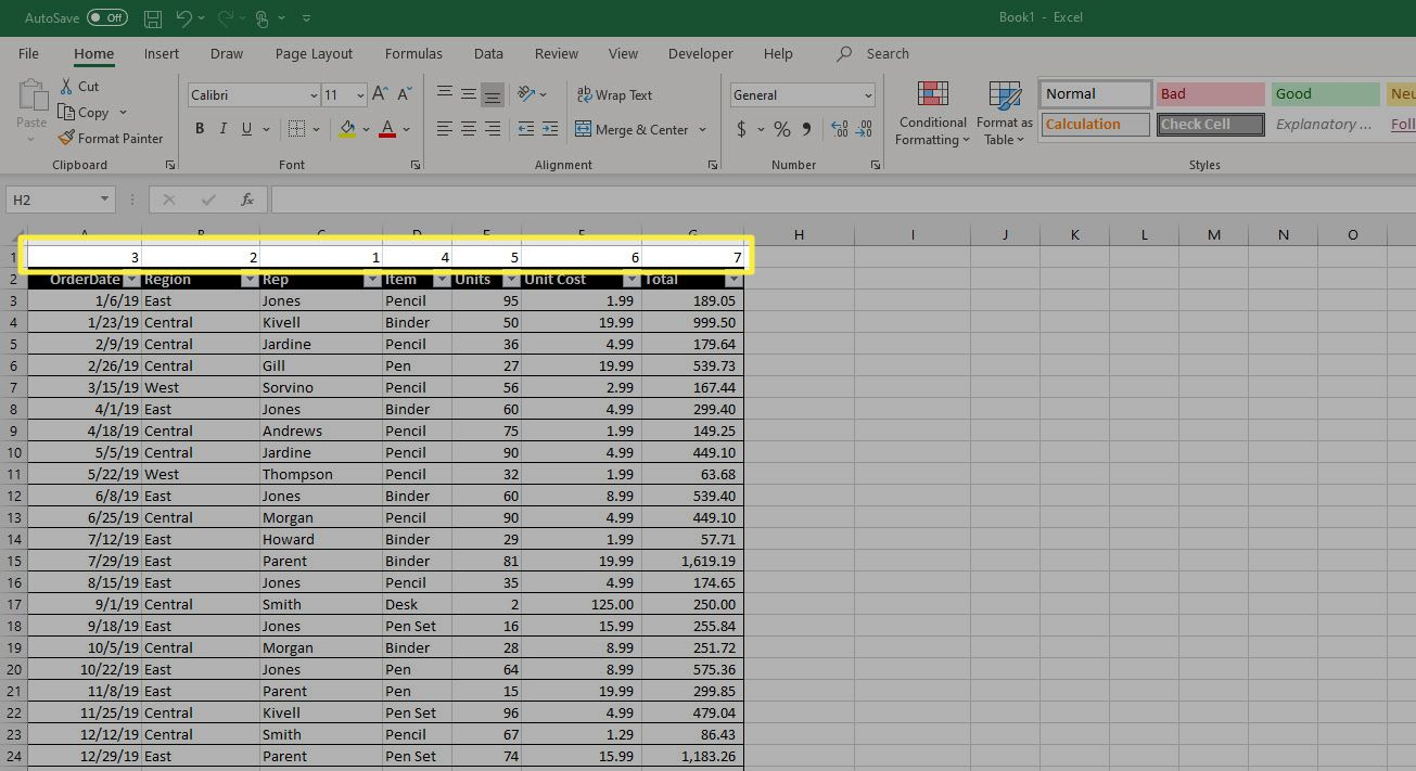 A new row in Excel that's been used to number the preferred order of the columns.