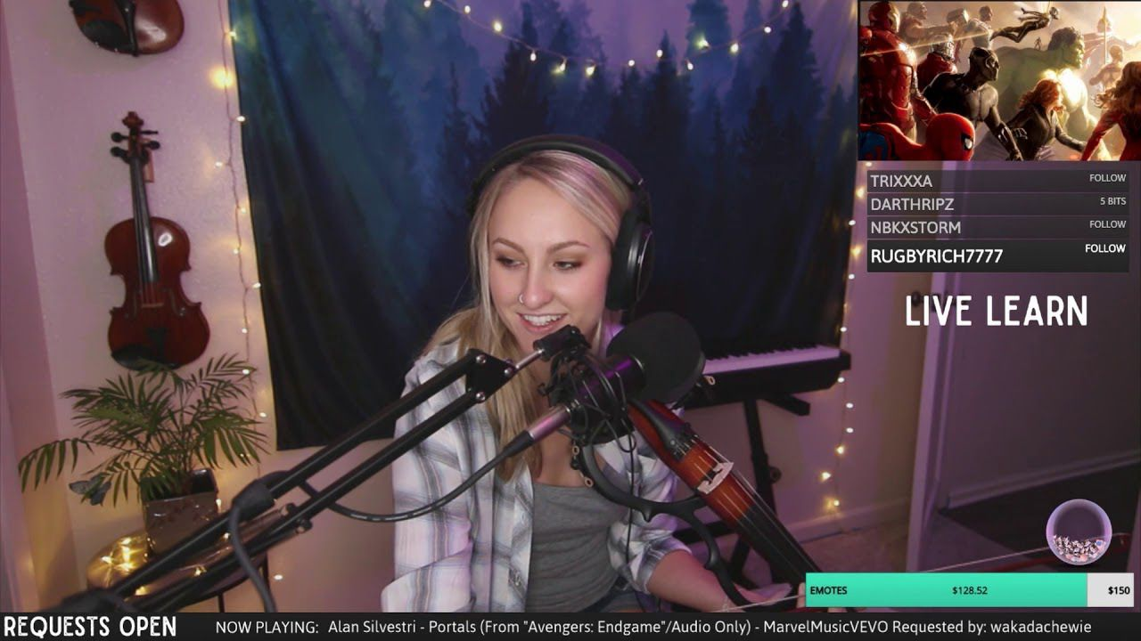 Justine Griffin streaming on Twitch
