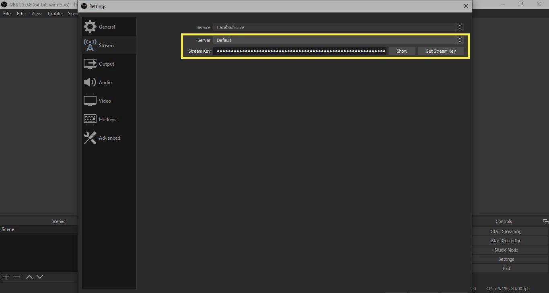Stream Key and Server in OBS Studio settings