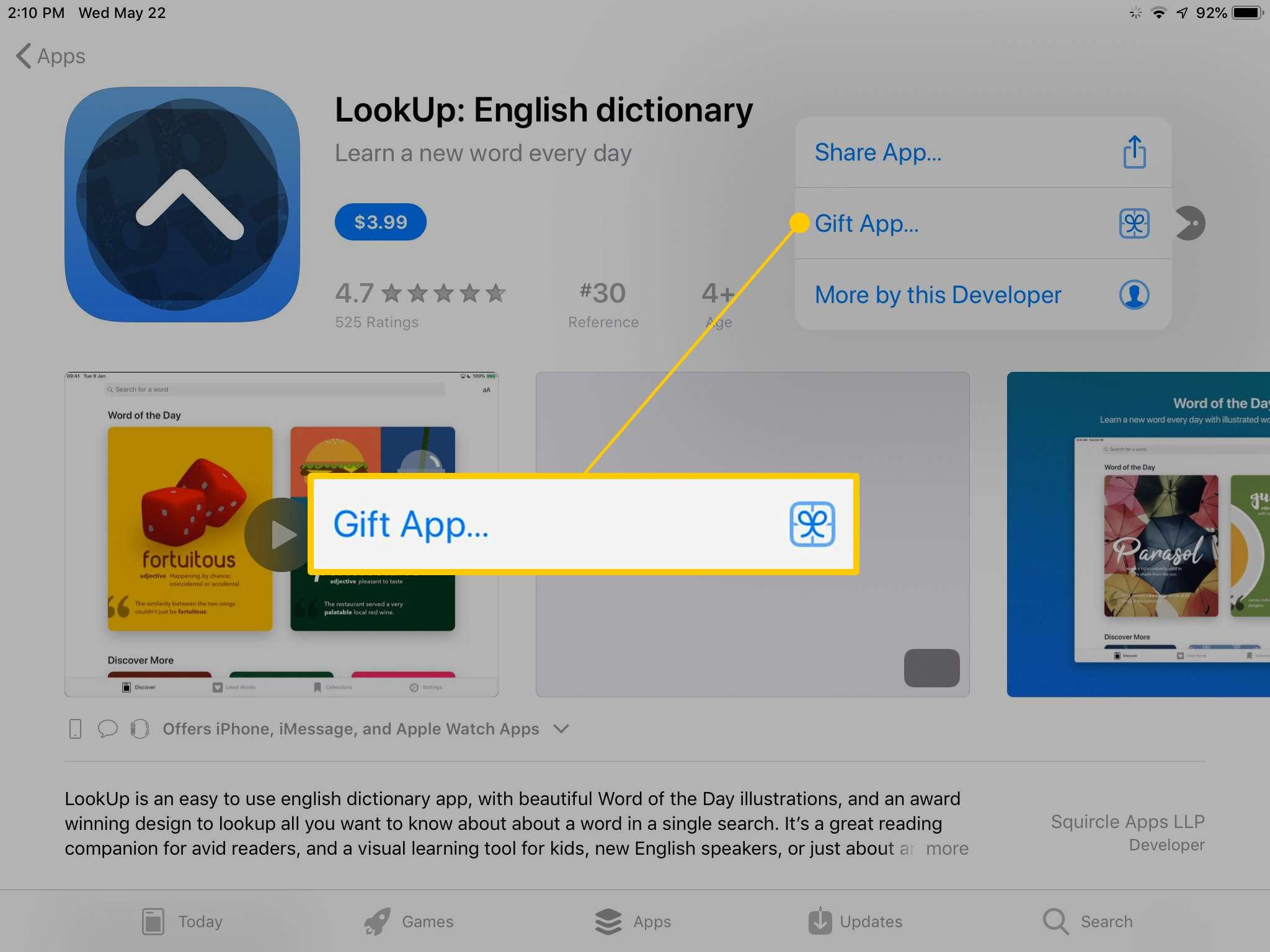 Gift app option in App Store