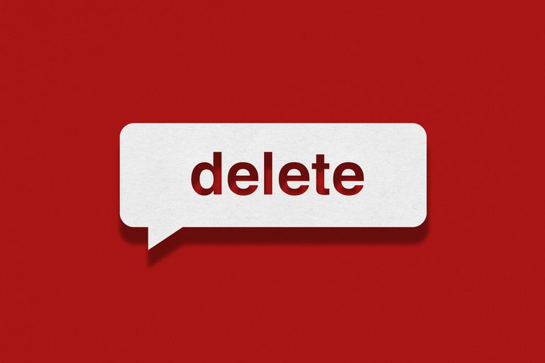 "The word ""delete"" in a speech bubble."