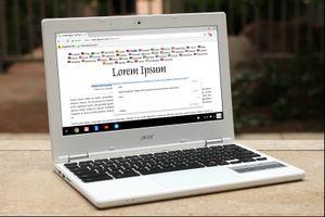 Acer Chromebook with Lorem Ipsum on screen