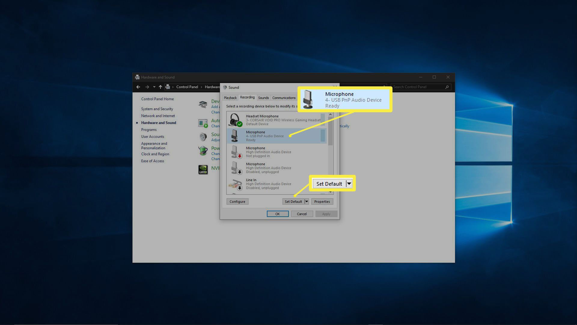 A screenshot showing the default microphone in Windows.