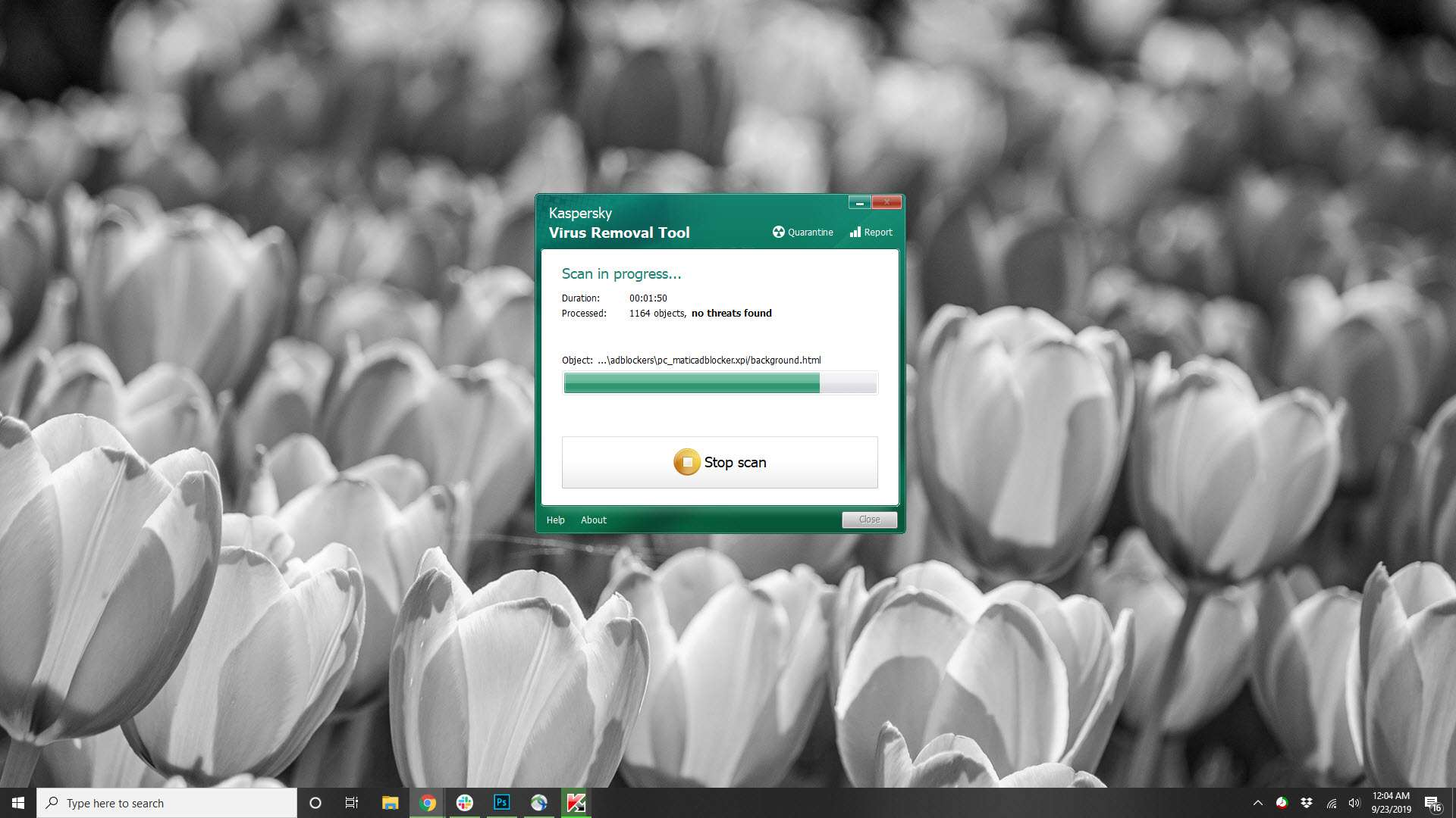 A screenshot of the Kaspersky Virus Removal tool in mid-scan.