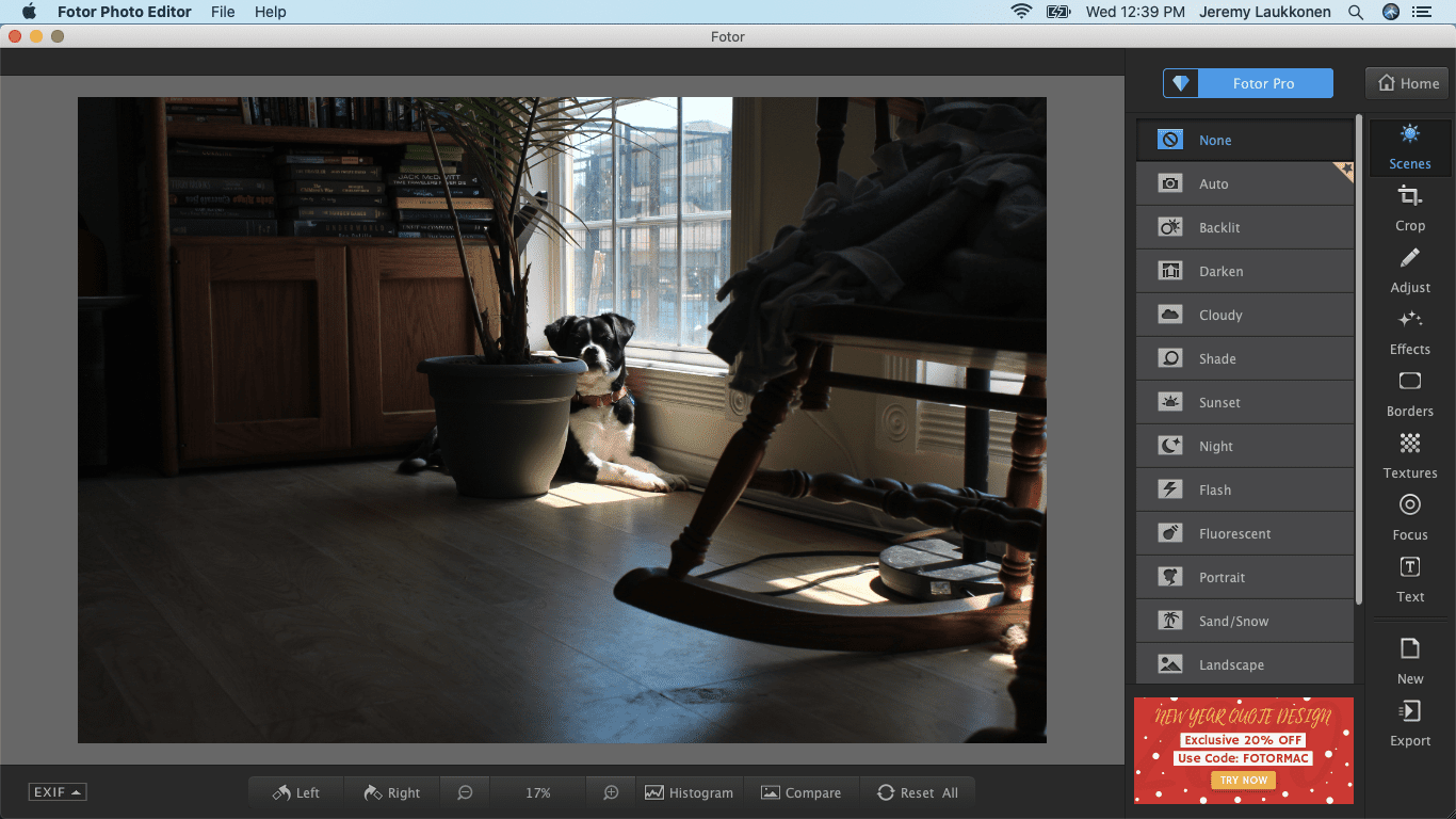 A screenshot of the Fotor photo editor on macOS.