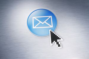 Blue email icon; arrow cursor on it