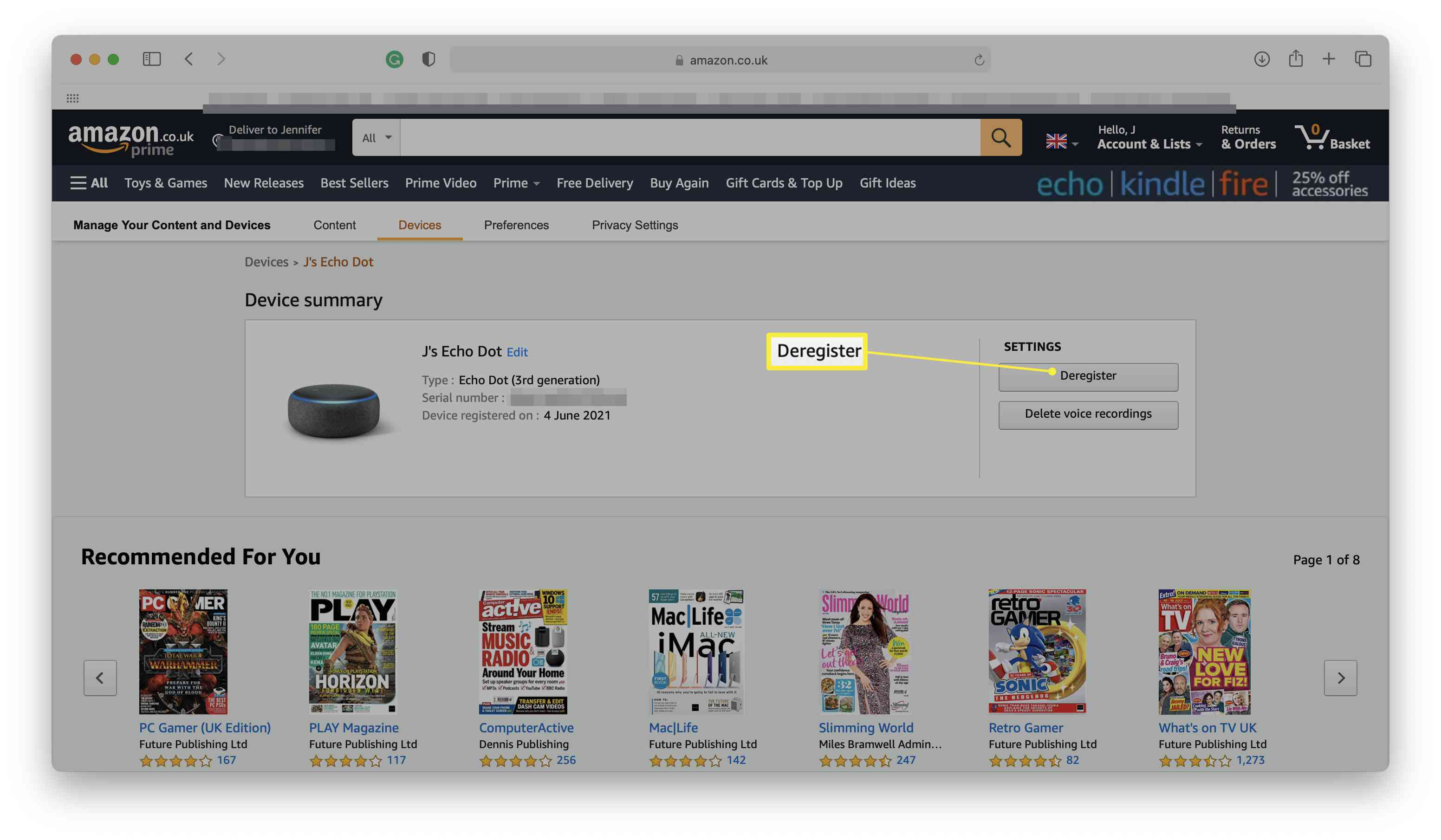 Amazon website with Echo speaker showing and Deregister highlighted