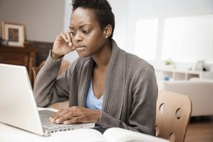 Woman frustrated at compuer
