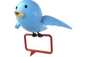 Blue Twitter bird holding red message bubble