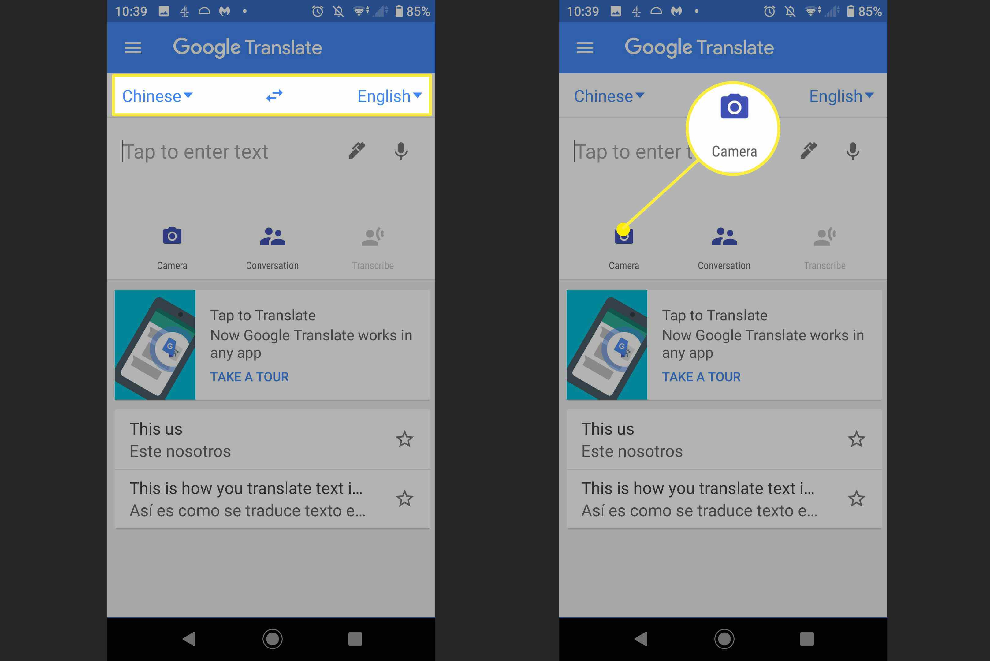 Screenshots of how to use the camera with Google Translate.