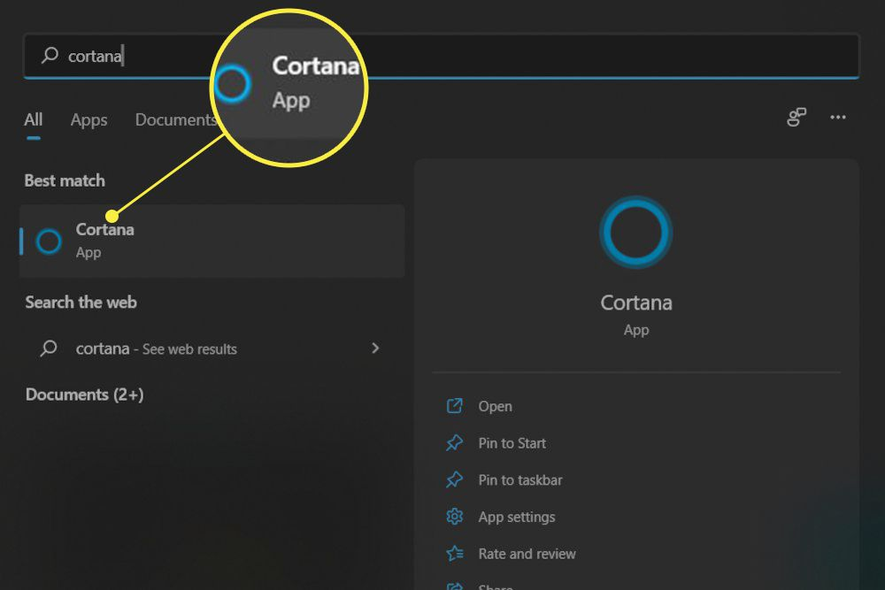 Windows 11 start menu with a Windows search result for Cortana highlighted.