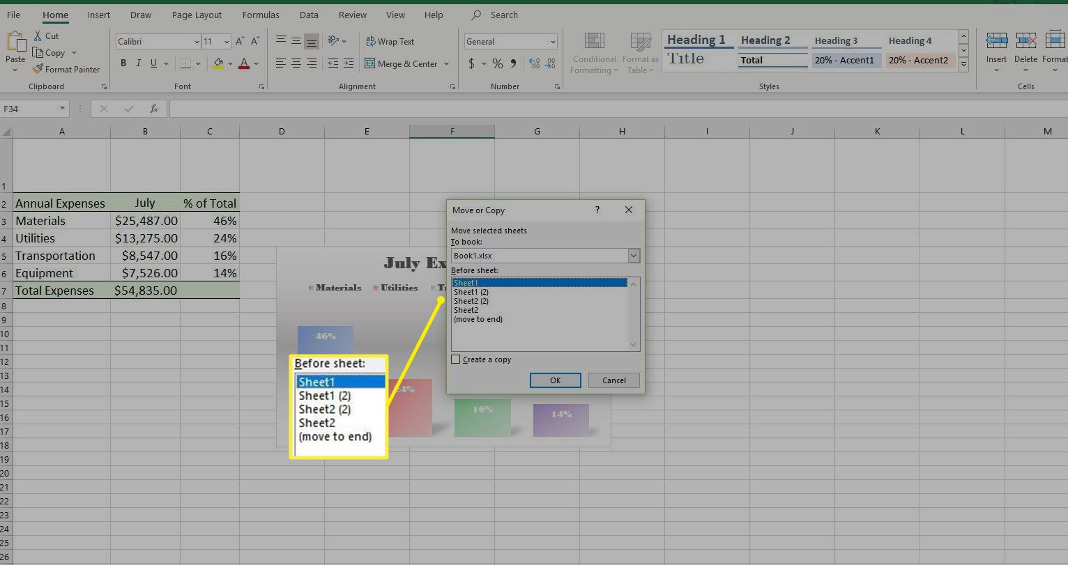 Screenshot of Move or Copy dialog box