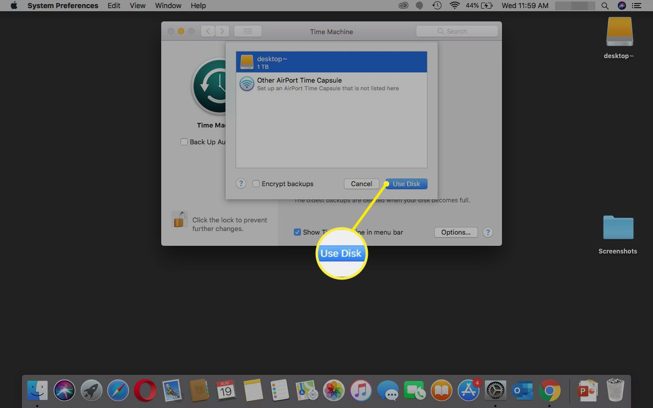 Selecting Use Disk in Time Machine.