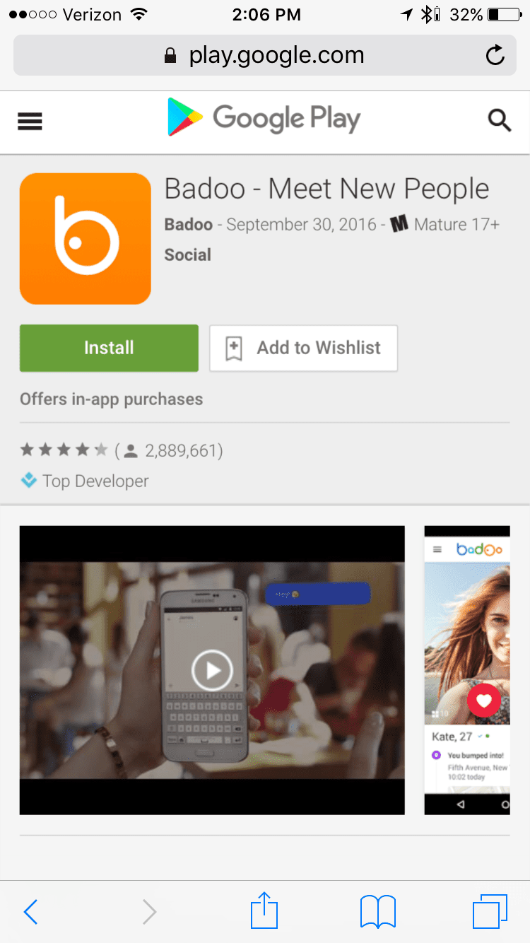 Find Badoo in the Google Play Market