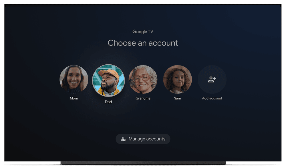 Multiple accounts on Google TV