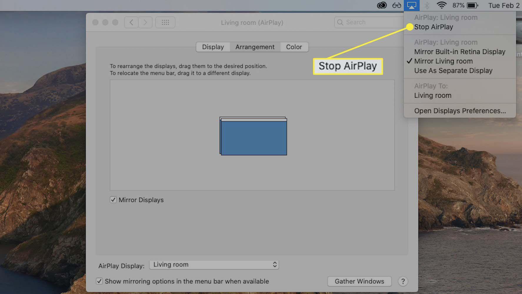 The Stop AirPlay menu item highlighted in the AirPlay menu bar menu.