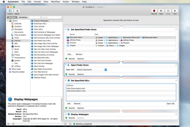 Automator showing completed workflow for opening apps, folders, and URLs screenshot