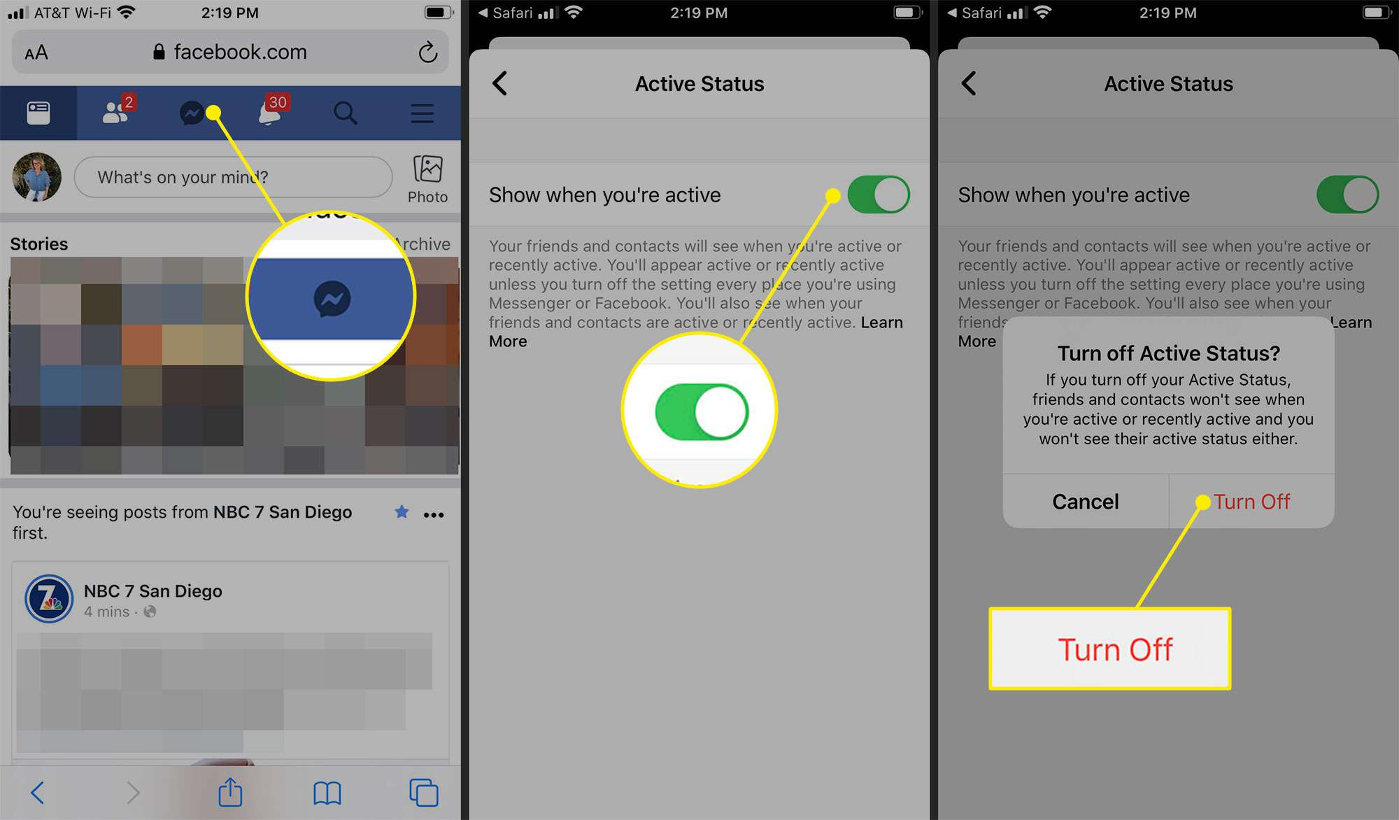 How to turn off active status in Messenger