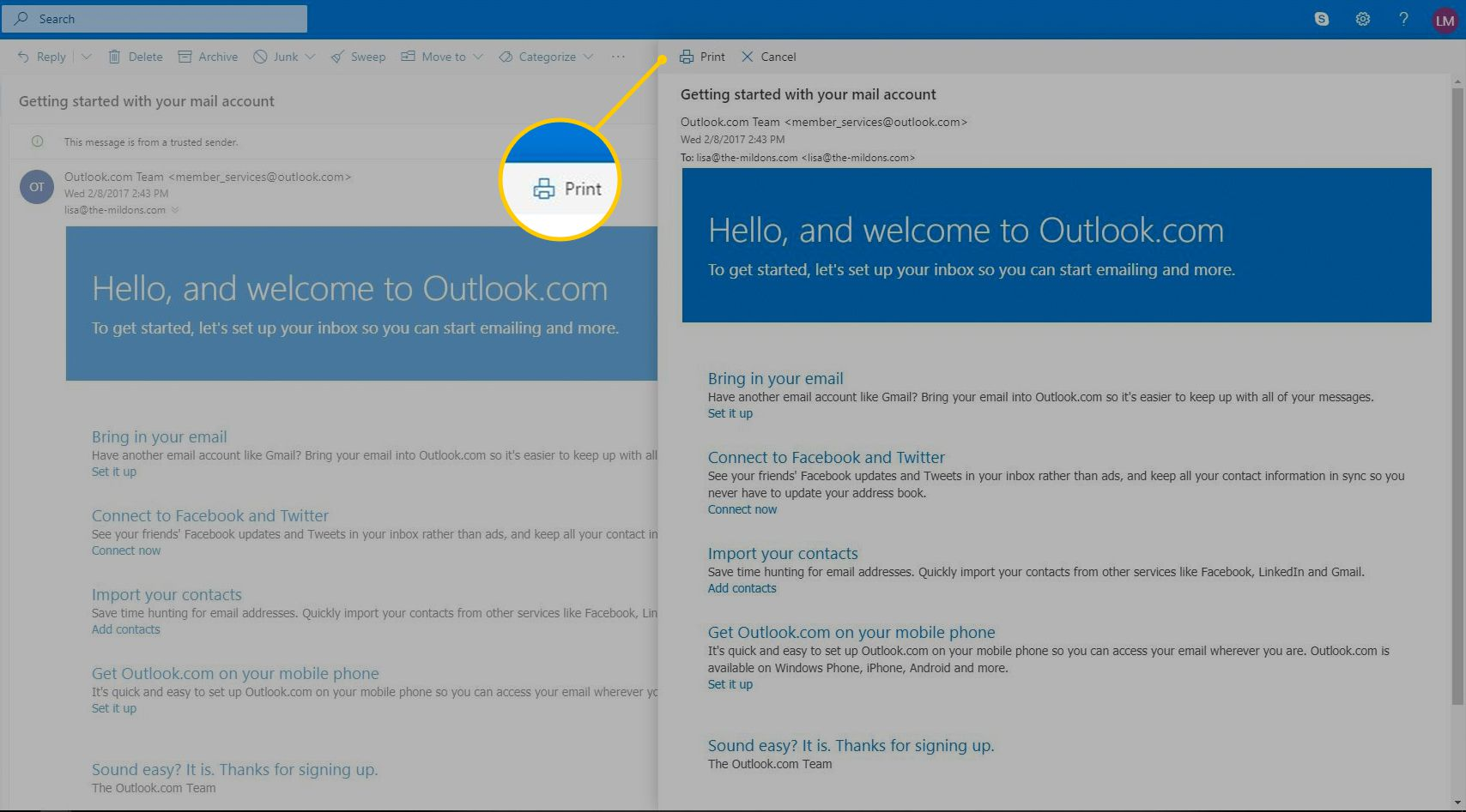 How to Print Email from Outlook or Outlook com