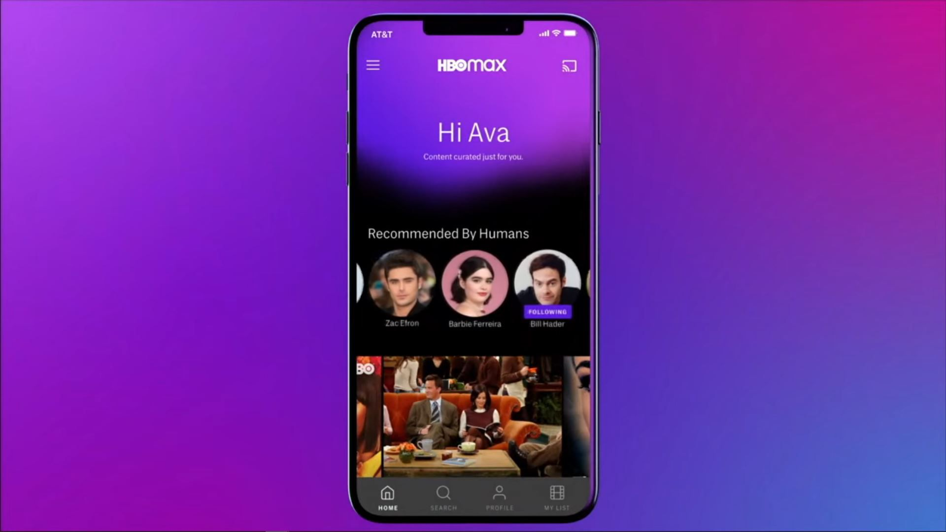 HBO Max pictured on a phone.