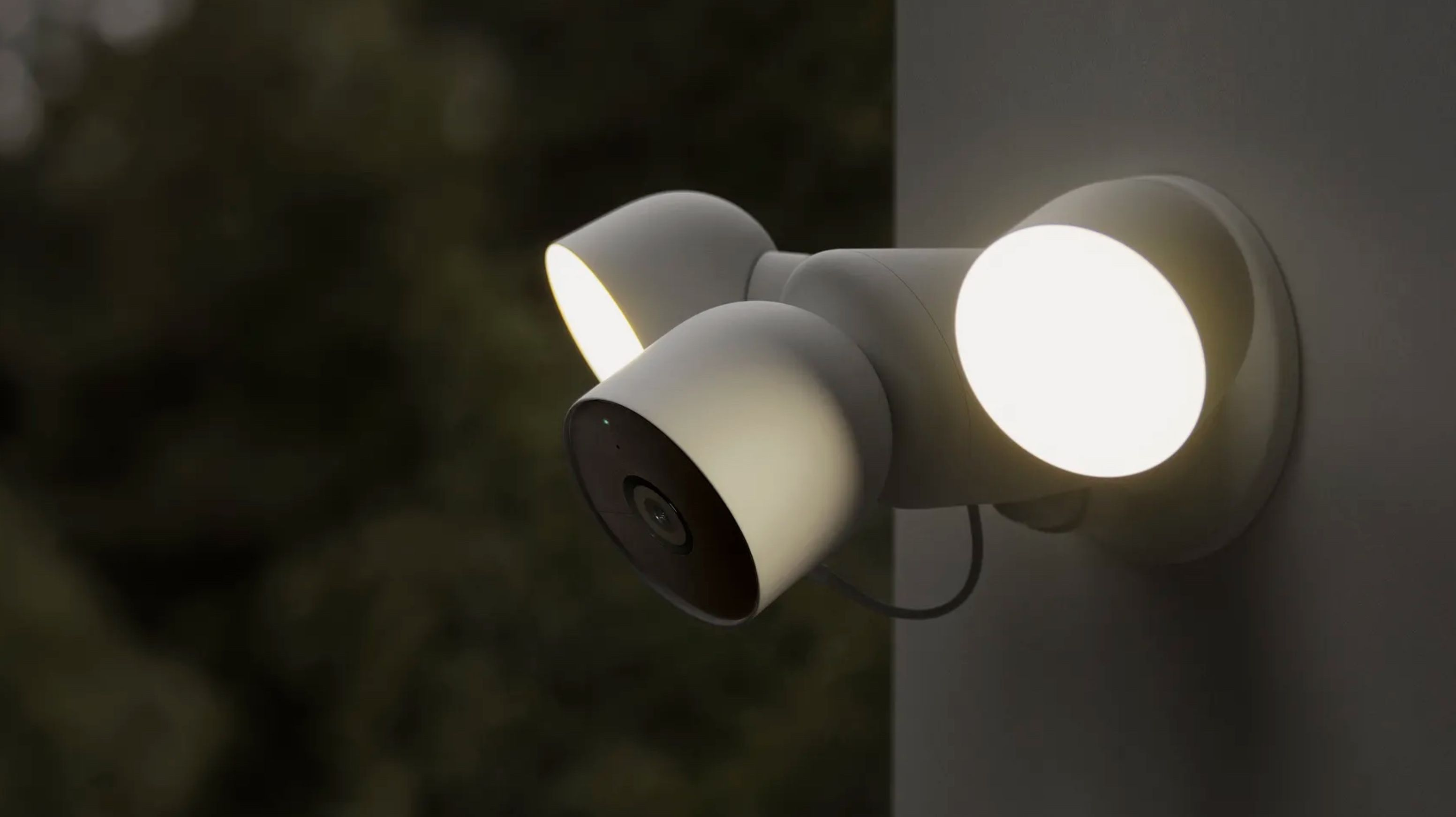 The outdoor Nest spotlight camera, with wired power connection.