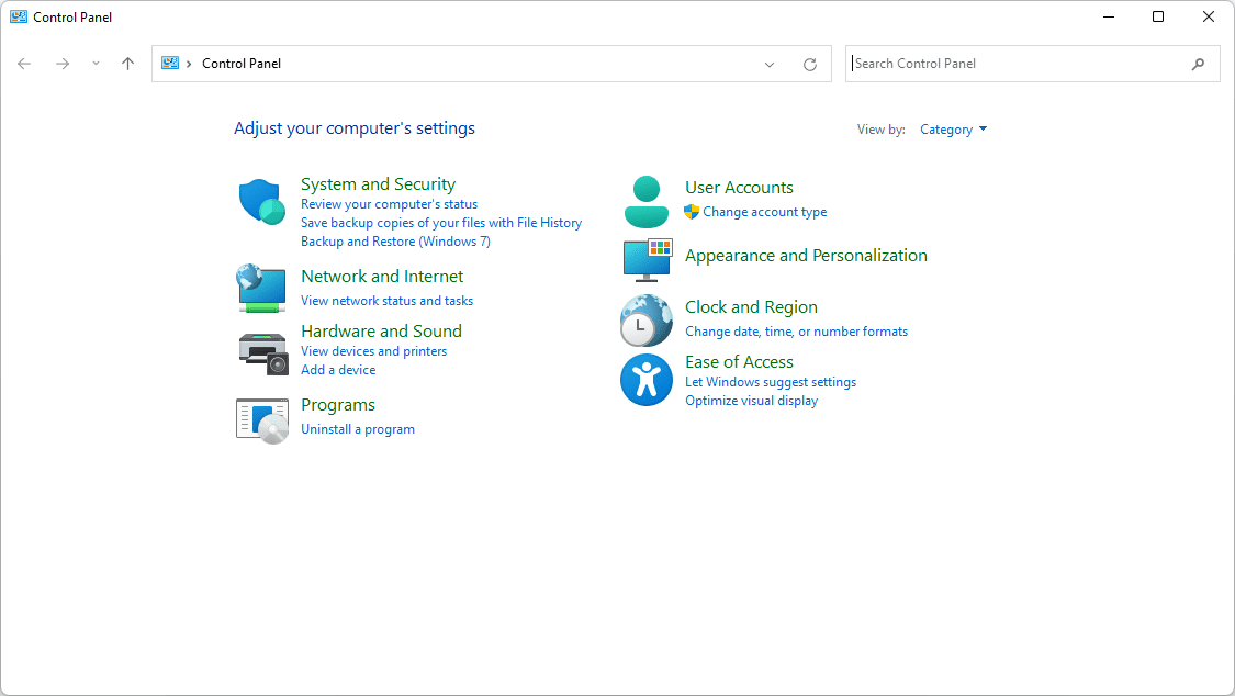 System and Security icon in Control Panel for Windows 11