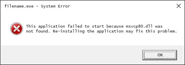Msvcp80.dll Error Message