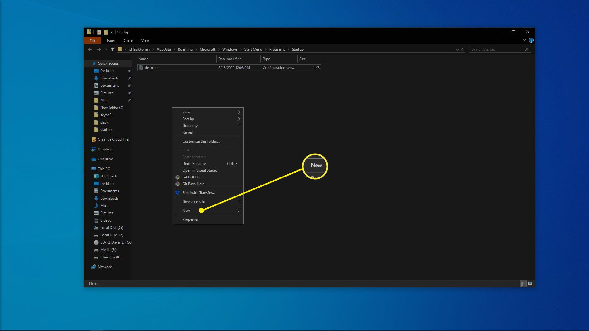 A screenshot of the Windows 10 startup folder.