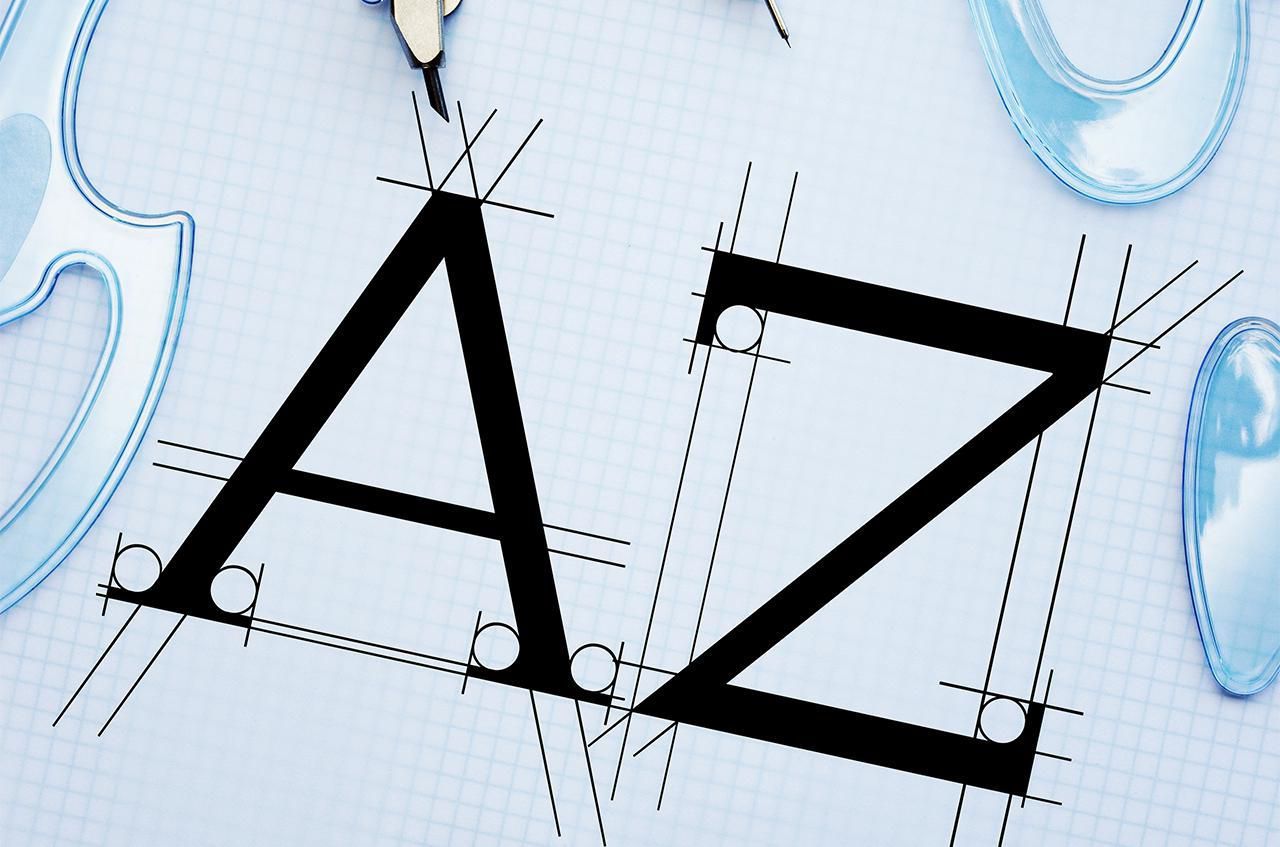 The letters A and Z in a typography setting