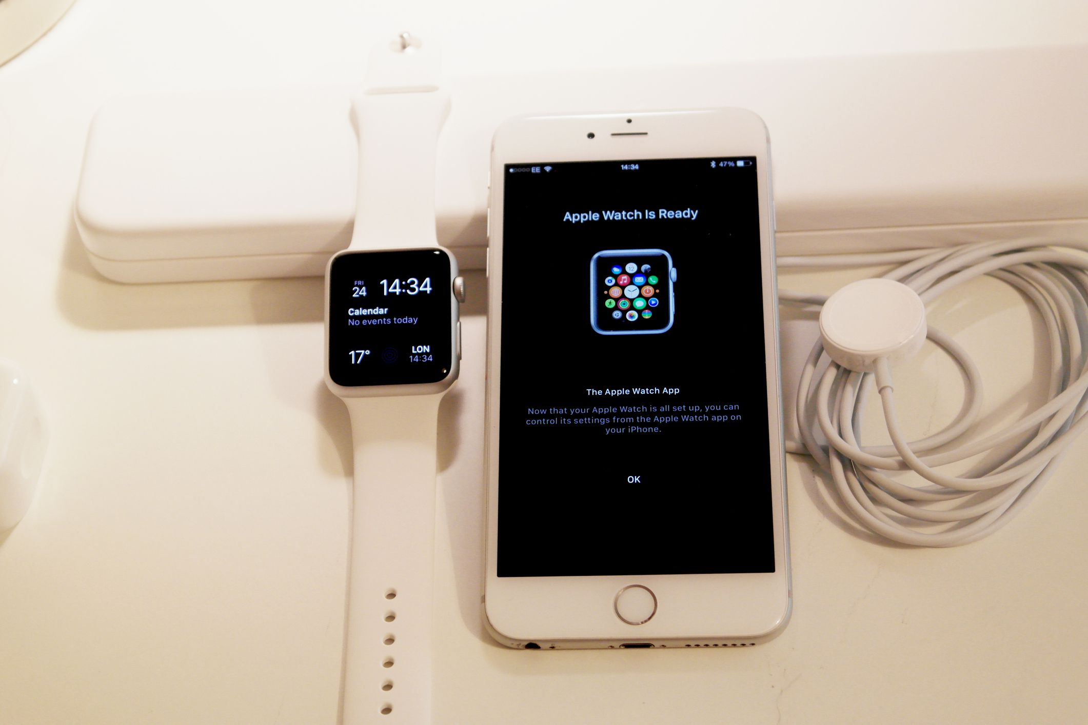 Apple Watch and iPhone after setup