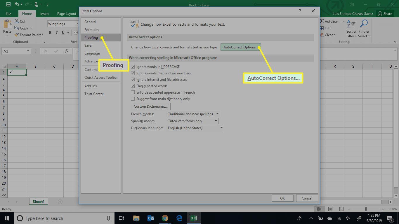Excel autocorrect options