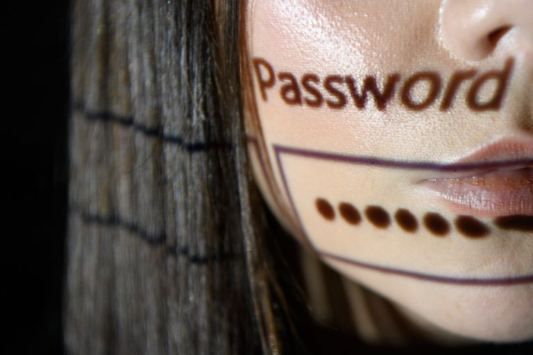 woman with password login projected onto her face