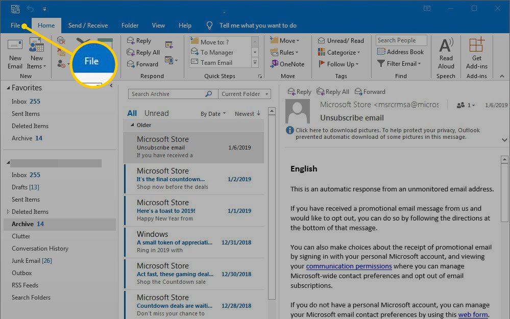 File menu in Outlook