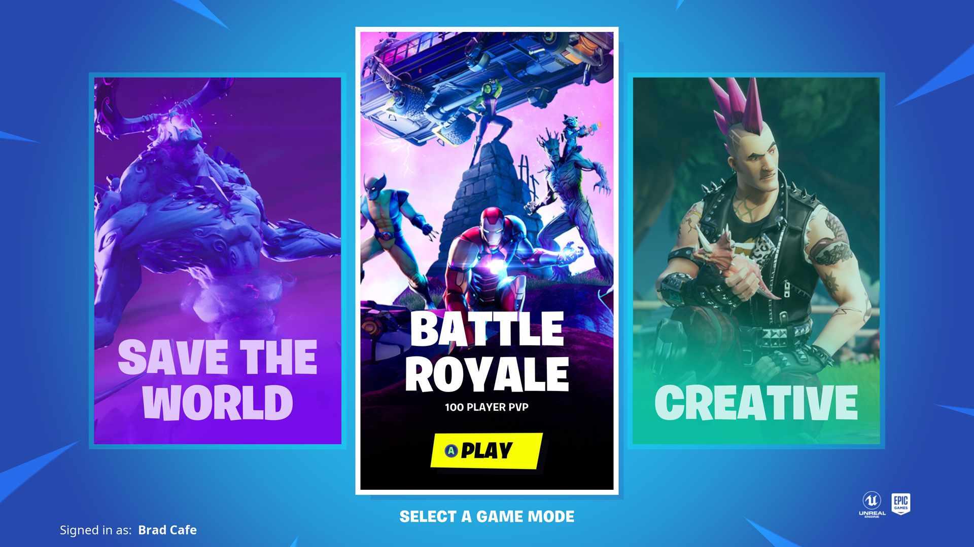 Fortnite video game title screen.