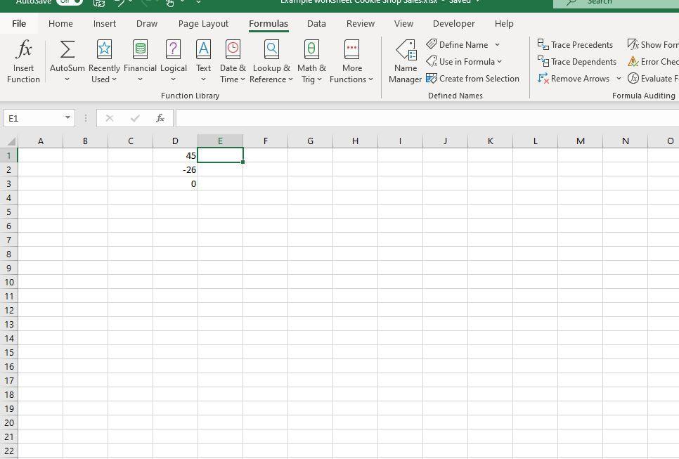 Formulas tab selected in Excel
