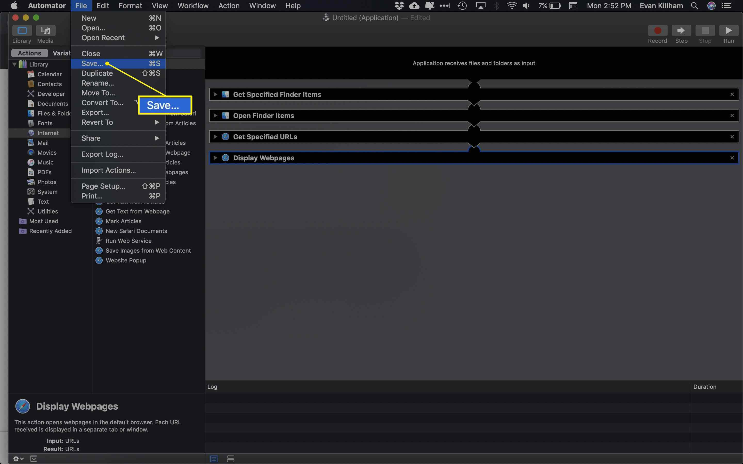The Automator File menu with Save selected