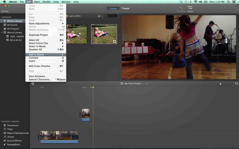 Adding footage to iMovie screenshot